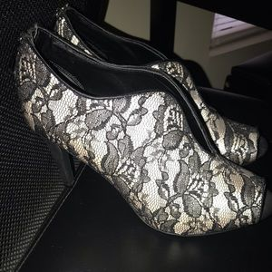 Black lace high heel booties
